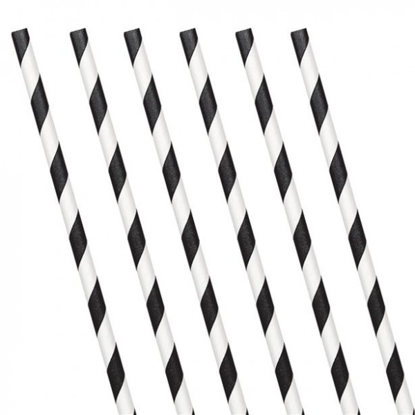 24 paper drinking straws black and white