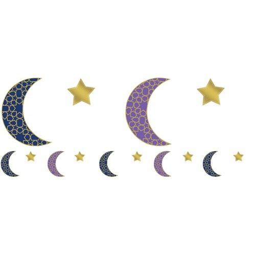 6 decoration hanger Eid half moon & stars