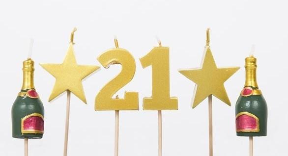 Velas pastel 21 cumpleaños 5 pzs.