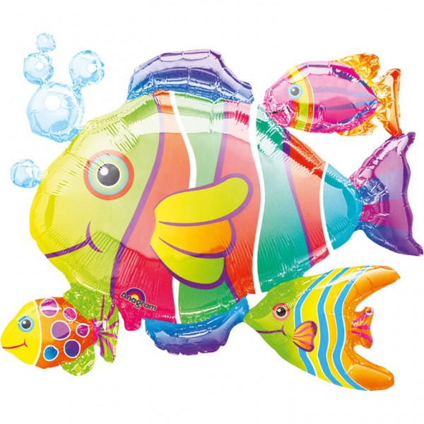 Colorful school of fish foil balloon