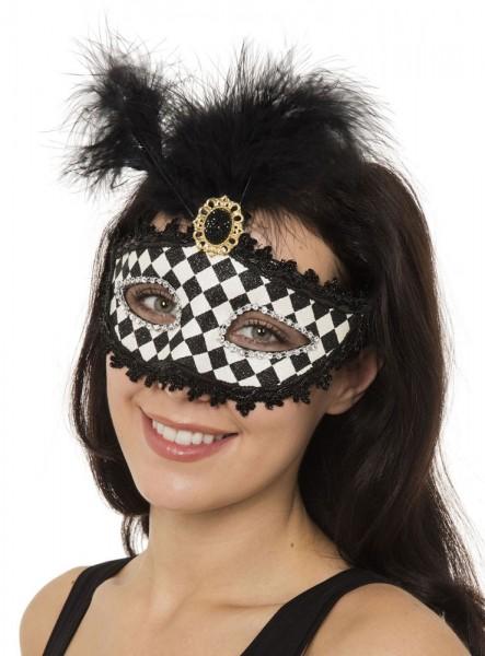 Karo-Muster Harlekin Feder Augen Maske