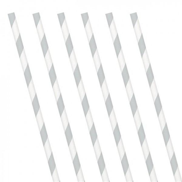 24 pajitas de papel de rayas blancas plateadas 19ccm