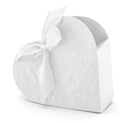 10 Weiße Herz Geschenkboxen