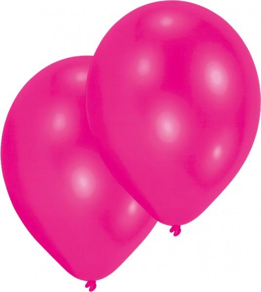 Sæt med 10 lyserøde 27,5 cm balloner