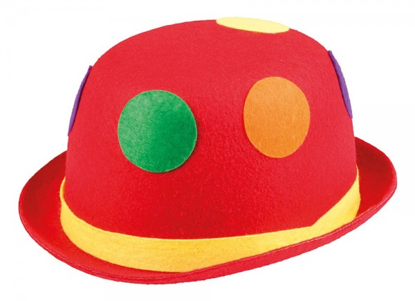 Chapeau melon chapeau de clown rouge à pois colorés
