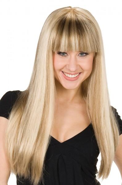 Peruka z długimi włosami Anita blond z pasemkami