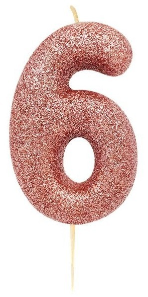 Glittering number 6 cake candle rose gold 7cm