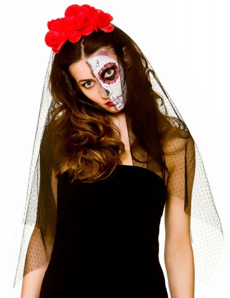 Day of the Dead Veil with Roses