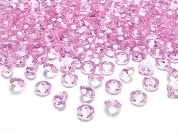 100 Diamond Scatter Decorations Light Pink 1.2cm