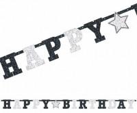 Glitzernde Happy Birthday Girlande Black & White 240cm
