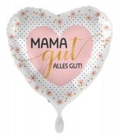 Mama gut alles gut Herz Folienballon 43cm