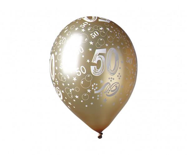 5 bunte 50.Jubiläum Luftballons 30cm