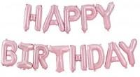 Happy Birthday Folienballon pastellrosa 4m