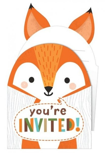 8 forest animal party invitation cards