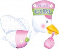 Babyparty It´s a Girl Storch Folienballon