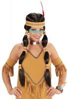 Indianerin Perücke Mit Zöpfen Und Stirnband