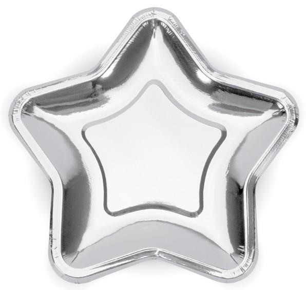 6 platos estrellas plateadas 23cm