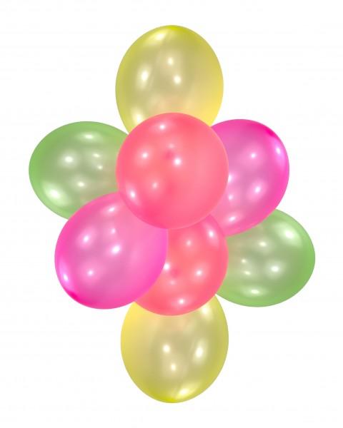 10er-Set Neon Luftballons Bunt 28 cm 1