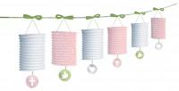 Heilige Kommunion Laternen Girlande Pink 3,65m