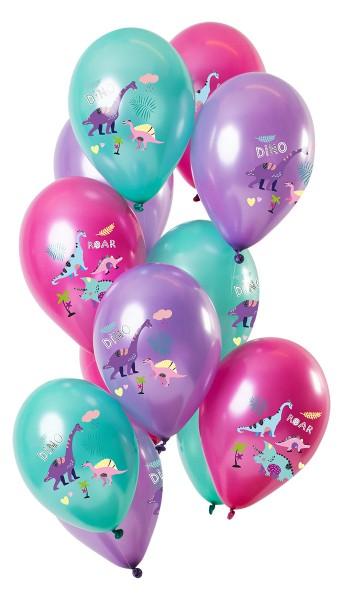 12 Latexballons Dinosaurier lila metallic