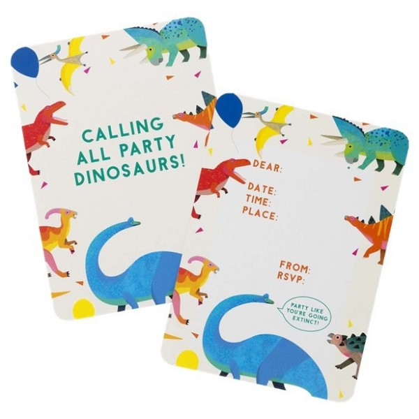 8 cartes d'invitation à la fête Dino