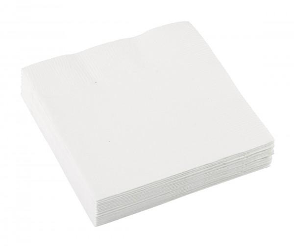 20 serviettes Mila blanc 25 x 25cm