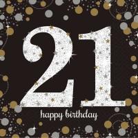 16 Golden 21st Birthday Servietten 33cm