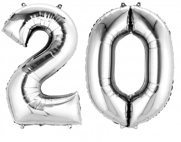 Foil balloon number 20 silver metallic 88cm
