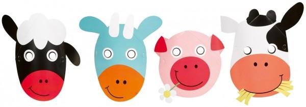 Adorables masques animaux de la ferme 8 pièces