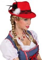 Chapeau traditionnel Oktoberfest Greta en rouge