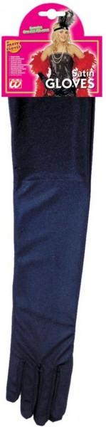 Elastische Satin-Handschuhe In Schwarz 43cm