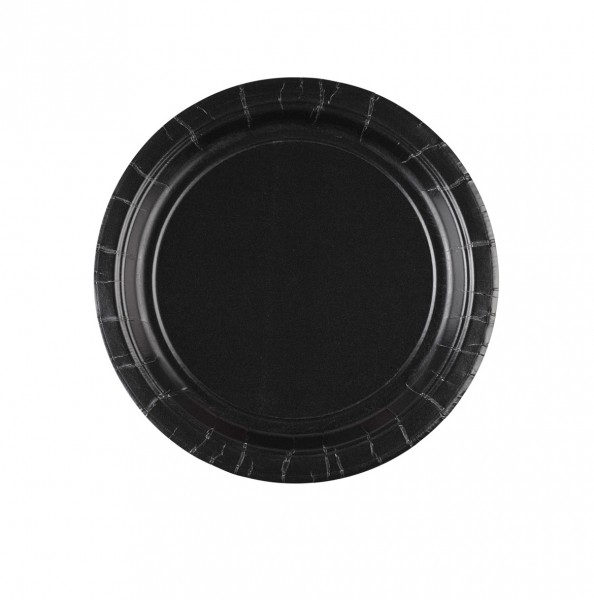 8 assiettes en carton Partytime Black 17,7cm