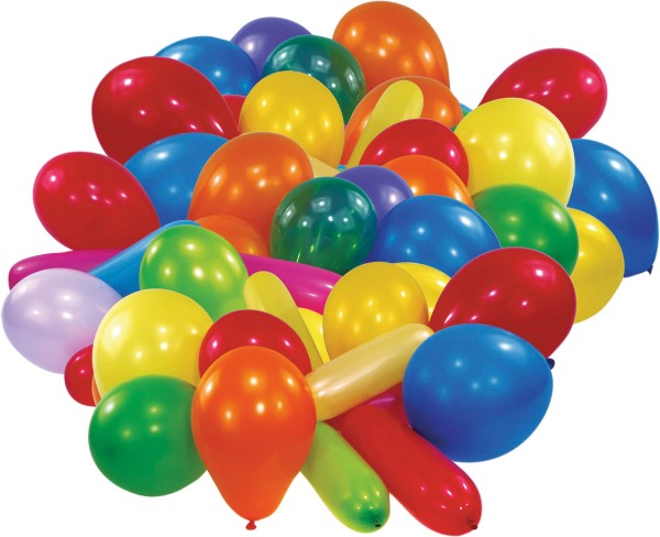 Conjunto de 50 globos de colores en diferentes formas.