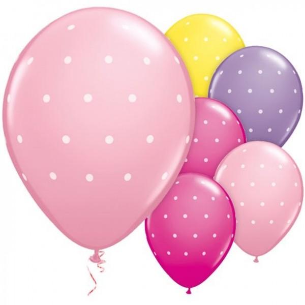 6 Girlie Colours Pünktchen Ballons 28cm
