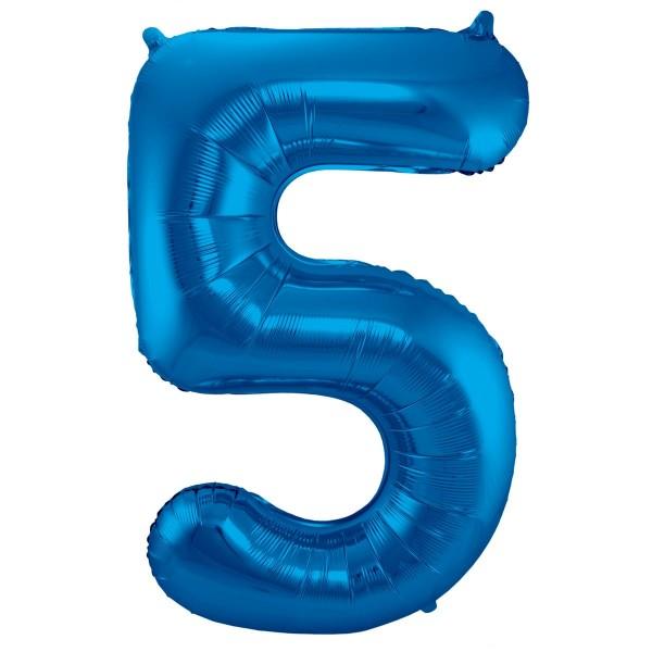 Ballon aluminium numéro 5 bleu 86cm