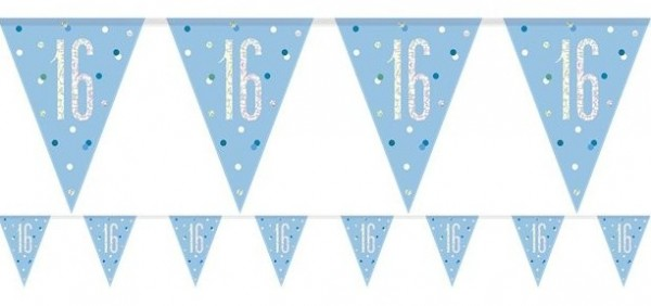 Blue Dots 16th Birthday Wimpelkette 2,75m