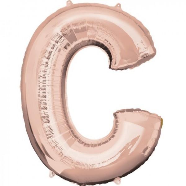 Letter C foil balloon rose gold 41cm
