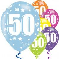 6 Latexballons 50. Geburtstag 28cm bunt