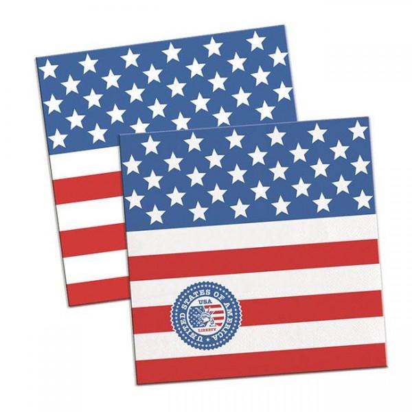 20 Papierservietten USA Party 2-lagig