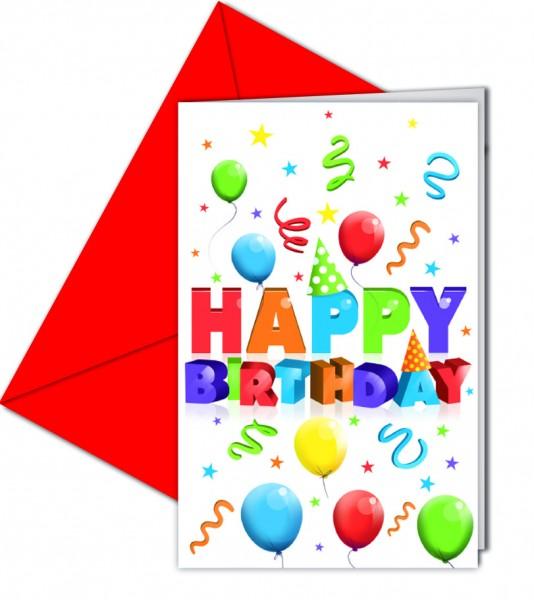 6 Fantastic Birthday Einladungskarten 9x14cm
