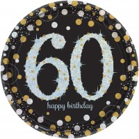 8 Golden 60th Birthday Pappteller 23cm