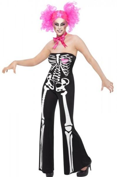 Elegante Skelett Lady Jumpsuit Schwarz