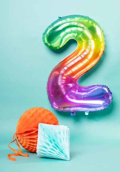 Zahl 2 Super Rainbow Folienballon 86cm