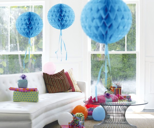 Blue honeycomb ball 30 cm
