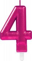 Zahlenkerze 4 in Pink 8cm