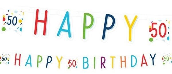 Colorful 50th birthday confetti garland 180cm