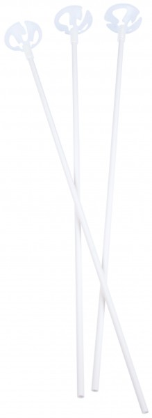 100 white balloon sticks with holder 38.5 cm