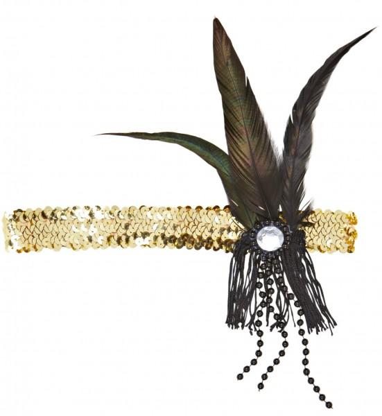Goldenes Charleston Stirnband Mit Federn