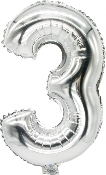 Palloncino Foil numero 3 argento 43cm