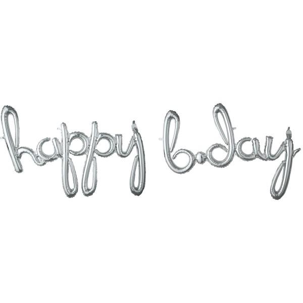 Silberner Happy B-Day Schriftzug 88cm